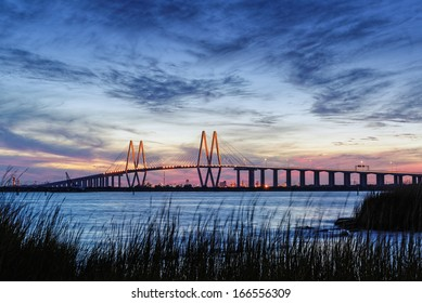 Fred Hartman Bridge during Twilight Houston Texas