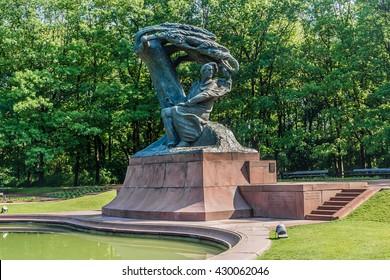 Frederic Chopin monument in Lazienki Park. Warsaw. Poland.