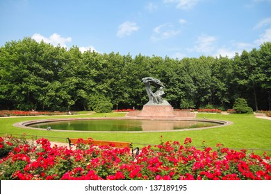 Frederic Chopin Monument. Chopin statue, Warsaw Lazienki Park