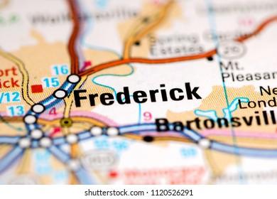 Frederick. Maryland. USA on a map