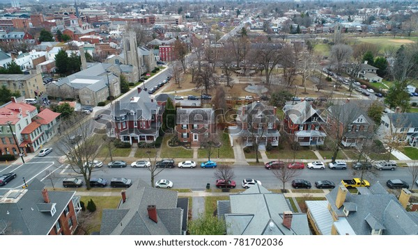 Frederick, MD - December 20, 2017: An aerial view of houses and buildings on a cold December afternoon.