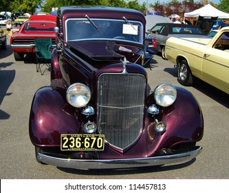 FREDERICK, MD- SEPTEMBER 16: 1936 Purple Ford Classic Car on Sept. 16, 2012 in Frederick , MD USA. Alzheimer's Association Benefit Car Show at Motor Vehicle Administration in Maryland.