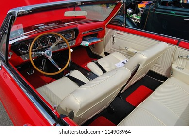 FREDERICK, MD  SEPTEMBER 16: 1965 Red Convertible Pontiac GTO Interior On  Sept.