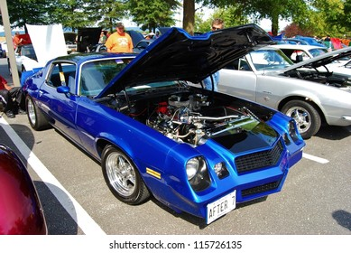 FREDERICK, MD- SEPTEMBER 16: 1979 Blue Chevrolet Camaro Coupe Engine on September 16, 2012 in Frederick , MD USA. Alzheimer's Association Benefit Car Show at MVA in Maryland.