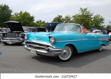 FREDERICK, MD- SEPTEMBER 16: Unidentified Man Driving 1957 Chevrolet Bel Air Convertible on Sept. 16, 2012 in Frederick , MD USA. Alzheimer's Association Benefit Car Show at MVA in Maryland.