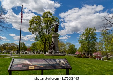 Frederick, MD, USA - April 26, 2015: Francis Scott Key monument and burial place in Mount Olivet Cemetery, Frederick, Maryland..