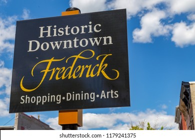 Frederick, MD, USA - April 26, 2015: Historic Downtown Frederick Maryland sign in downtowan area.