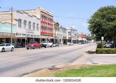 Fredericksburg, Texas 09/15/2019: Small town main street in United States