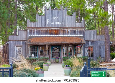 FREDERICKSBURG, TEXAS - JANUARY 11, 2018 - Das Peach Haus (The Peach House) is a favorite  destination in Texas Hillcountry that includes wine tasting, cooking school and a store.
