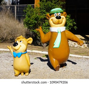 FREDERICKSBURG, TEXAS - MARCH 7, 2018- Yogi the Bear and BooBoo  Statues at Yogi Bear's Jellystone Park