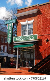 Fredericksburg, VA, USA March 29, 2012 Goolricks Drug Store and Cafe has been a fixture in Fredricksburg, Virginia since the 1860s and still operates as a café and pharmacy.