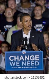 FREDERICKSBURG,VA -   FREDERICKSBURG,VA - SEPT 27: Democratic presidential candidate Barack Obama speaks to supporters at a rally on September 27, 2008 in Fredericksburg, Virginia.