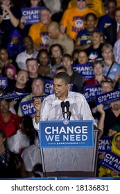 FREDERICKSBURG,VA - SEPTEMBER 27: Democratic presidential candidate Barack Obama slams Republican presidential candidate John McCain is out of touch with middle-class Americans at a rally in Virginia.