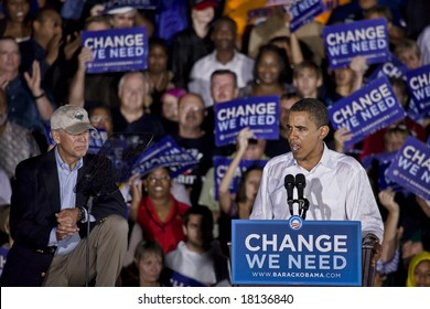 FREDERICKSBURG,VA - SEPTEMBER 27: Democratic presidential candidate Barack Obama & Democratic vice presidential candidate Joe Biden appear together for the first time in Virginia.