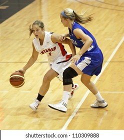 FREDERICTON, CANADA - AUGUST 11: Ontario's Bridget Atkinson dribbles against N.S. in the Canadian 17U women's basketball championship game Aug. 11, 2012 in Fredericton, Canada. Ontario won 66-48.