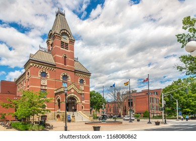 FREDERICTON, CANADA - JUNE 20,2018 - View at the building of City hall and museum in Fredericton. Fredericton is the capital of the Canadian province of New Brunswick.