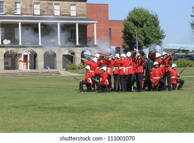 FREDERICTON, NB, CANADA - CIRCA AUGUST 2012 - The Changing of the Guard Ceremony at Officer's Square  where period guards re-enact a drill ceremony circa August 2012