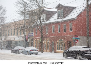 Fredericton, NB / Canada - Dec.12 2016: Snow storm in downtown of Fredericton
