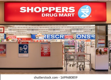 Fredericton, NB / Canada - Sep 19 2019: Shoppers Drug Mart - Canadian retail pharmacy chain - in Kings place mall
