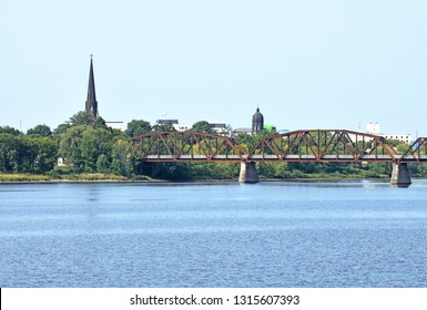 Fredericton, New Brunswick / Canada:  September 16 2017:  View of Downtown Fredericton from the Saint John River