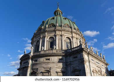 Frederik's Church (Frederiks Kirke), Copenhagen, Denmark - 23 Jun 2018: It is popularly known as The Marble Church (Marmorkirken) for its rococo architecture.