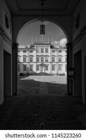 Frederiksberg Palace (Frederiksberg Slot) in Black and White, Copenhagen, Denmark - 24 Jun 2018: It is a Baroque residence adjacent to the Copenhagen Zoo.