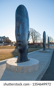 Fredrikstad, Norway - 31th March 2019: Sculptures made by Jaume Plensa.