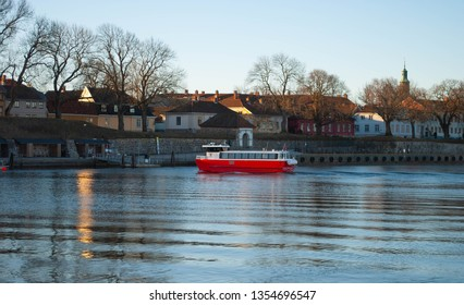 Fredrikstad, Norway - 31th March 2019: City ferry on the way to old town.