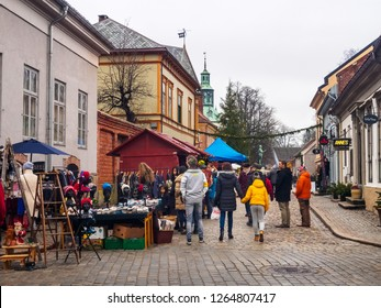 Fredrikstad, Norway. 8 Decemaber 2018. Christmas market on the streets of old town of Fredrikstad