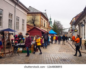 Fredrikstad, Norway. 8 December 2018. Christmas market in downtown of Fredrikstad