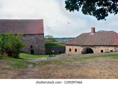 Fredrikstad, Norway - August 19, 2018 - Kongsten fort in Fredrikstad fortress town in Norway
