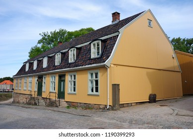 Fredrikstad, Norway - August 19, 2018 - Medieval houses in the Old part of Fredrikstad fortress town