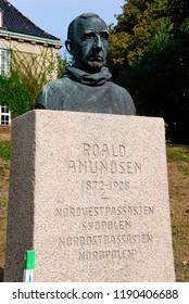Fredrikstad, Norway - August 19, 2018 - Roald Amundsen monument in Fredrikstad