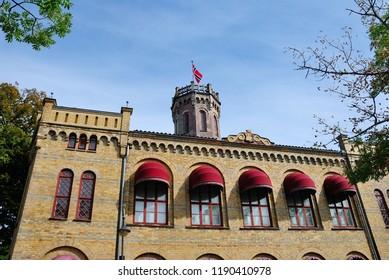 Fredrikstad, Norway - August 19, 2018 - Fredrikstad Town Hall building