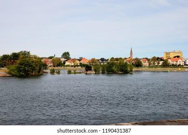 Fredrikstad, Norway - August 19, 2018 - Fredrikstad seen from the Kongsten fort