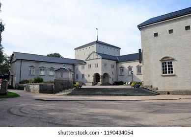 Fredrikstad, Norway - August 19, 2018 - Public Library building in Fredrikstad fortress town