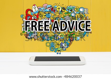 Free Advice concept with smartphone on yellow wooden background