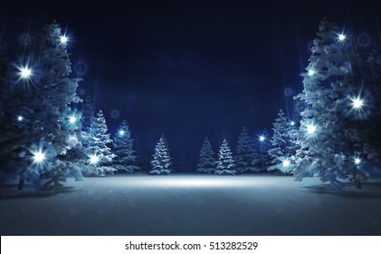 free area in winter glittering magic woods, blue seasonal landscape background 3D illustration