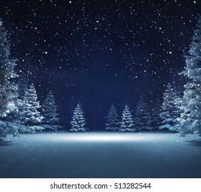 free area in winter snowy woods, blue seasonal landscape background 3D illustration