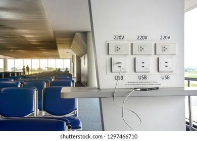 free battery charging station in the airport terminal for traveler