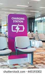 Free charging station in airport.