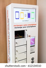 Free charging station for smart phones and other electronical gadget in airport.