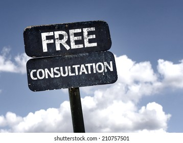 Free Consultation sign with clouds and sky background