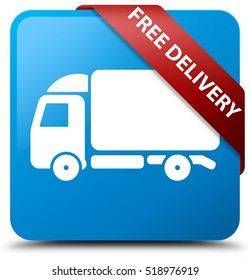 Free delivery cyan blue square button