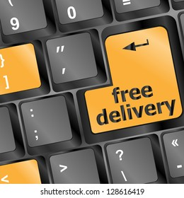 free delivery key on laptop keyboard, raster