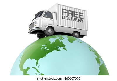 Free delivery, small truck driving over the planet earth