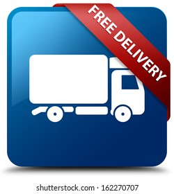 Free delivery (truck icon) glassy red ribbon glossy blue square button