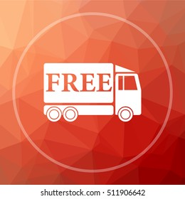 Free delivery truck icon. Free delivery truck website button on red low poly background.