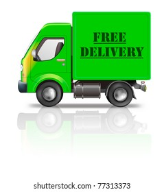 free delivery truck package delivery free shipping order from online internet store package sending delivering parcel shipping icon or delivery button