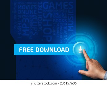 Free download. Businessman presses a button on the virtual screen. Business, technology, internet and networking concept.